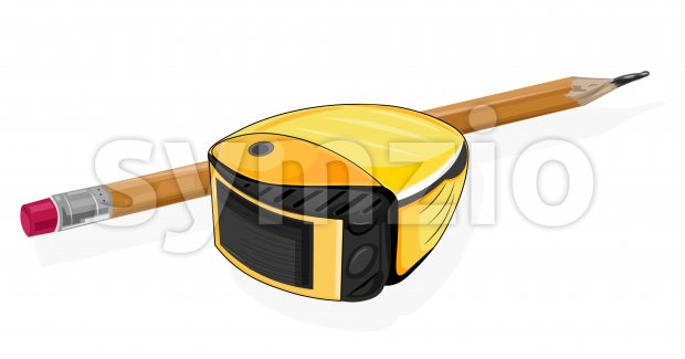 Architect or designer starter pack with yellow tape measure and pencil. Vector Stock Vector