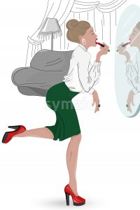 Young elegant woman in hurry painting her lips in the mirror. Wearing red high heels and green skirt. Vector Stock Vector