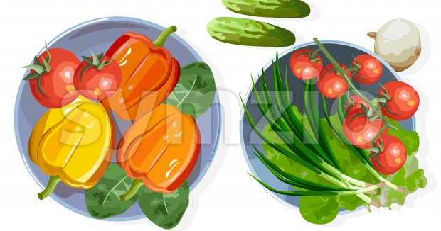 Composition of healthy vegetables on table. Tomatoes, cucumber, onion, lettuce, pepper and spinach. Top view Vector Stock Vector