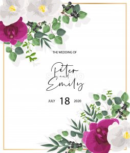 Wedding card with white and purple orchid flowers. Green leaves decorations. Vector Stock Vector