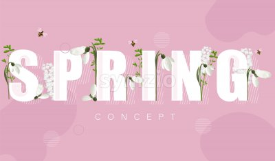 Spring banner with white snowdrops and lilac flowers. Rose background. Vector Stock Vector
