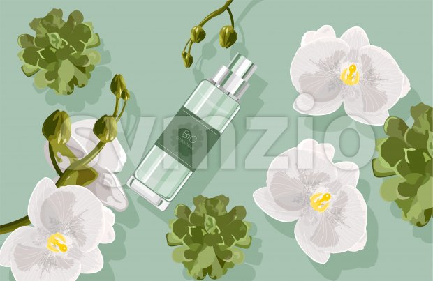 Bio cosmetics composition with white orchid flowers and green leaves, cactus. Perfume bottle. Vector Stock Vector
