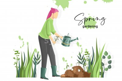 Spring gardening composition with a woman watering snowdrops. Vector Stock Vector