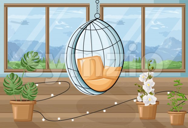 Cozy house with flowers and swing chair. Mountains on background. About gardening idea. Vector