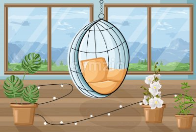 Cozy house with flowers and swing chair. Mountains on background. About gardening idea. Vector Stock Vector