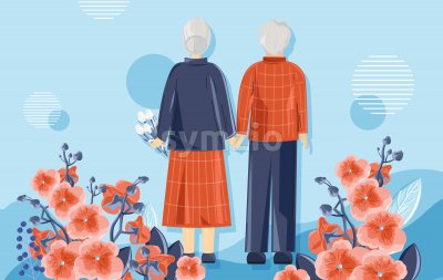 Old people in vibrant red and blue clothes enjoying the spring. Matching colors flowers and background. Vector Stock Vector