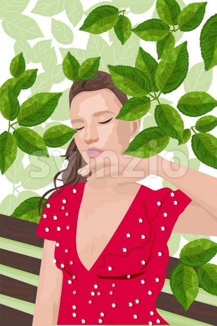 Young woman in red dress sitting on a bench and enjoying greenery. Vector Stock Vector