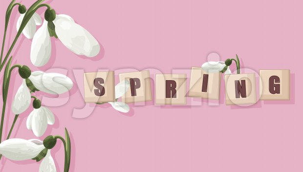 Spring purple banner with white snowdrops and place for text in form of tiles. Vector