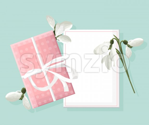 Spring rose gift box with white snowdrops. Place for text. Vector Stock Vector