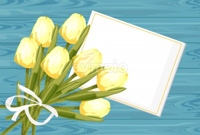 Spring rose gift box with yellow tulip flowers. Place for text. Vector Stock Vector