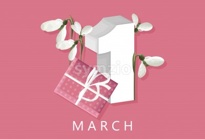 Spring rose gift box with rose tulip flowers. First day of march. White snowdrops. Place for text. Vector Stock Vector