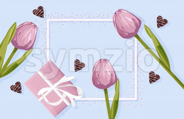 Spring rose gift box with rose tulip flowers. Hearts decorations. Place for text. Vector Stock Vector