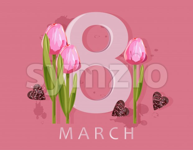 8 march greeting card with rose tulip flowers and hearts. Colorful pink background. Vector