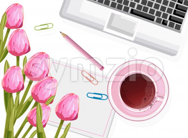 Dream designer workplace composition with rose tulip flowers, tea cup and pencil. Vector