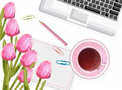 Dream designer workplace composition with rose tulip flowers, tea cup and pencil. Vector Stock Vector