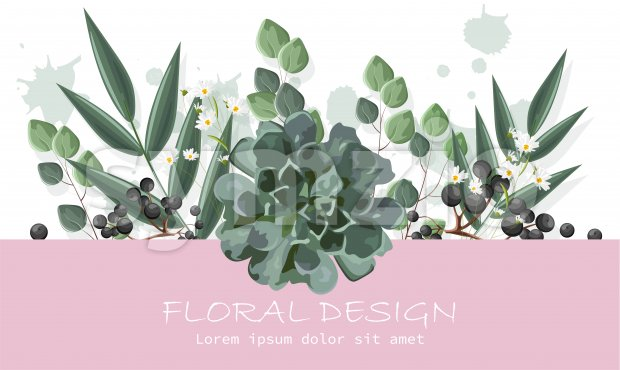 Floral design banner with berries and chamomile flowers. Place for text. Vector Stock Vector