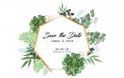 Wedding invitation card in form of hexagon with floral decorations and berries. Place for text. Vector Stock Vector