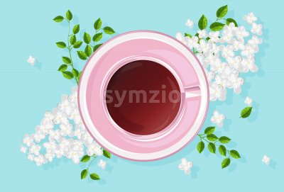 Rose cup of tea with white lilac flowers and green leaves. Vibrant colors. Vector Stock Vector