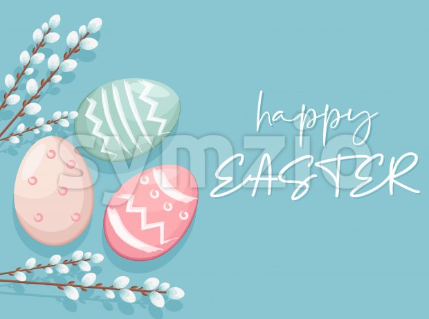 Happy Easter eggs with white catkins decorations. Vibrant colors with blue background. Place for text. Vector Stock Vector