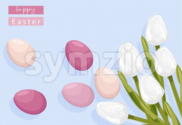 Easter eggs without decorations and white tulip flowers. Place for text. Vector Stock Vector