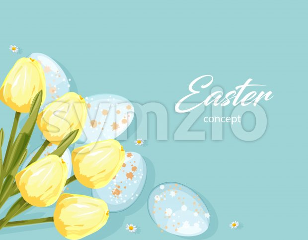 Easter eggs without decorations and yellow tulip flowers. Place for text. Vector Stock Vector