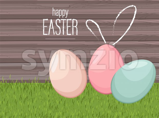 Happy easter colorful eggs on grass with wooden background. Vector Stock Vector