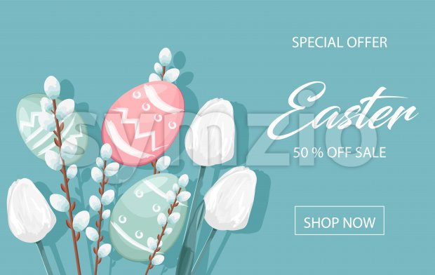 Happy Easter sale banner with eggs, white catkins and tulip flowers decorations. Vibrant colors with blue background. Place for text. Vector Stock Vector
