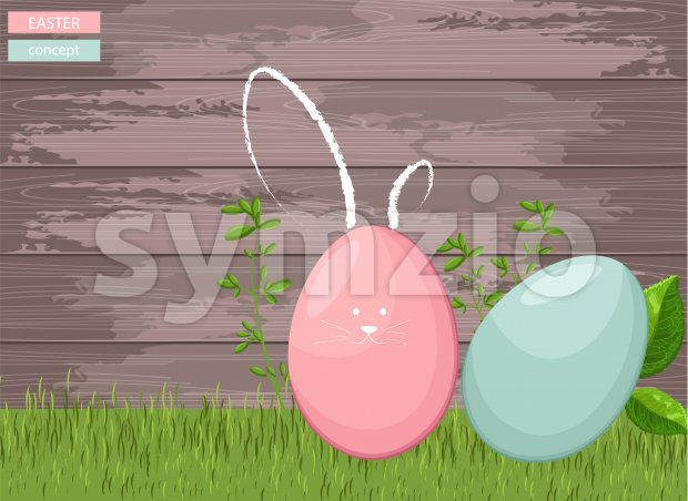 Happy easter colorful eggs on grass with wooden background. Green leaves growing. Vector