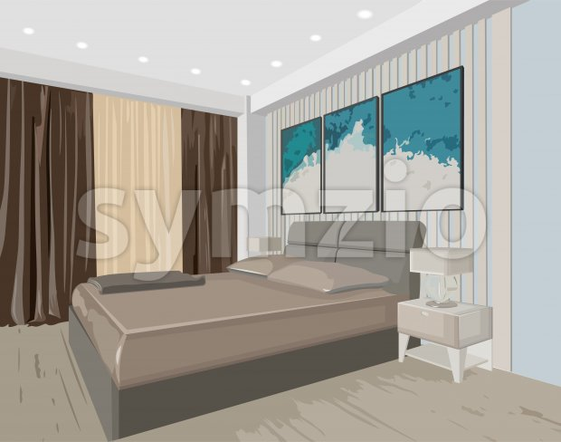 Bedroom concept interior with modern design bed and paintings. Vector Stock Vector