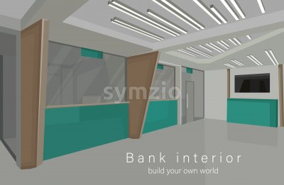 Bank interior design concept with green colors. Vector Stock Vector