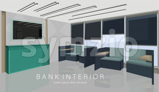 Bank interior design concept with green colors. Chairs for waiting. Vector