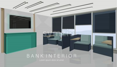 Bank interior design concept with green colors. Chairs for waiting. Vector Stock Vector