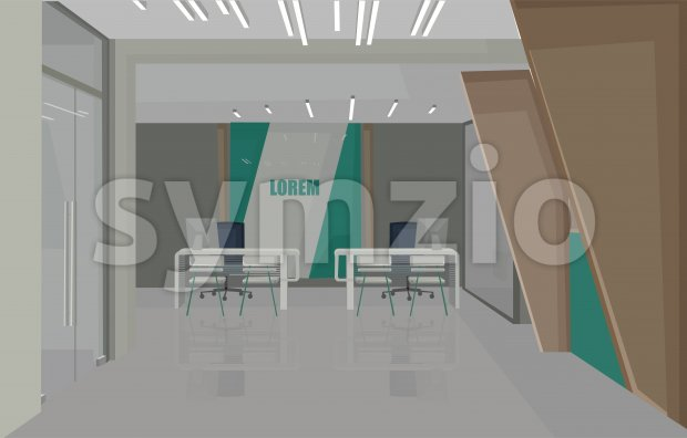 Bank interior design concept with green colors. Chairs for serving people. Vector Stock Vector