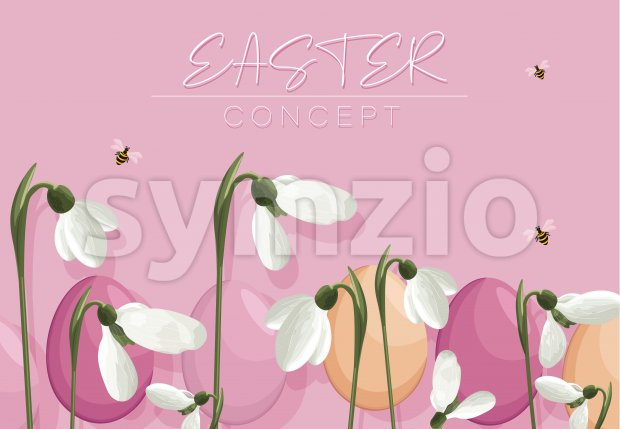 Spring purple banner with easter eggs, white snowdrops and bees flying. Vector Stock Vector