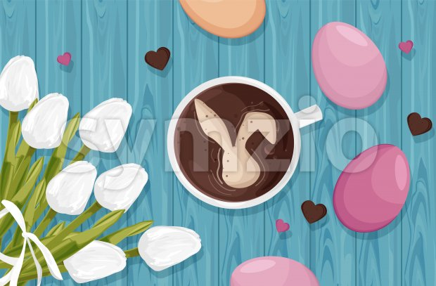 Happy Easter eggs decorations with white tulip flowers and coffee with bunny. Blue wooden background. Vector