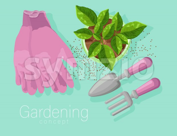 Gardening concept with rose gloves, shovel and rake. Tea leaves growing in a pot. Vibrant baby blue background. Vector Stock Vector