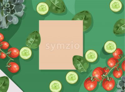 Ecological products composition with branch of red tomatoes, spinach and cucumbers. Place for text. Vector Stock Vector
