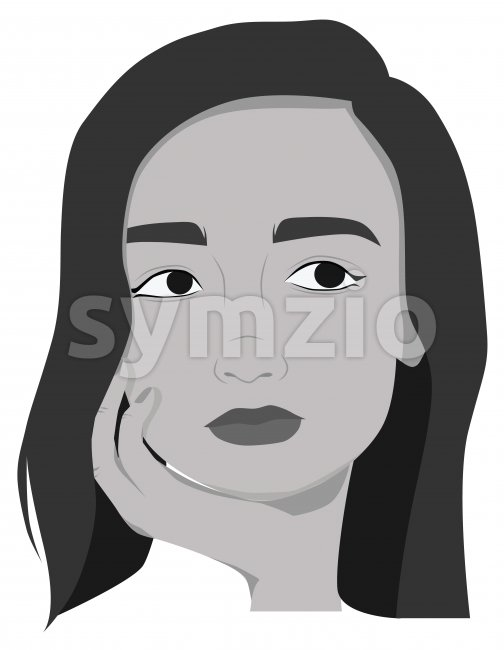 Beautiful girl posing. Drawing. Black and white. Portrait. Vector Stock Vector