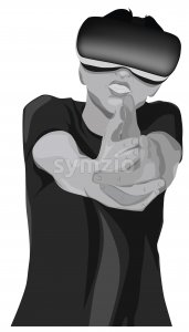 Man with vr headset shooting using his fingers. Black and white. Vector Stock Vector