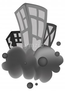 Buildings on a gray cloud. Black and white. Abstract drawing. White background. Vector Stock Vector