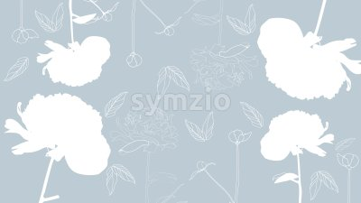 Line art peonies flowers on bright blue background. Vector Stock Vector