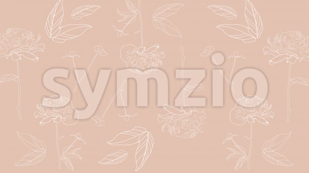 Line art peonies flowers on beige background. Vector Stock Vector