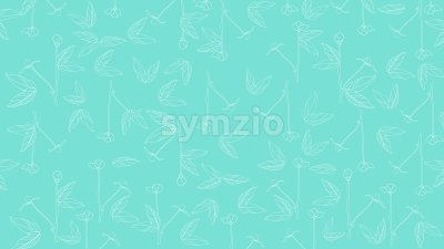 Flowers in blossom with leaves on turquoise background. Vector Stock Vector
