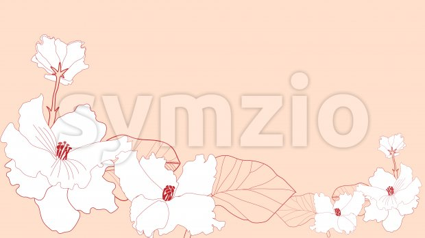Line art lily flowers in red color on beige background. Vector Stock Vector