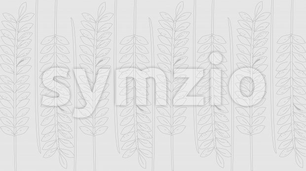 Line art branches with leaves on gray background. Vector Stock Vector