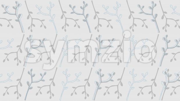Line art texture of blue branches with leaves on gray background. Vector