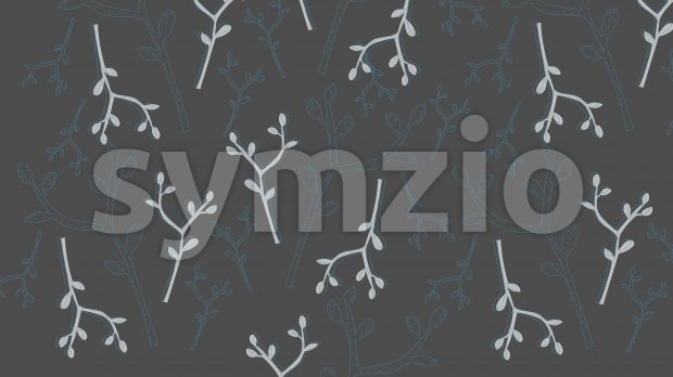 Line art texture of blue branches with leaves on gray background. Vector Stock Vector