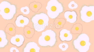 Abstract composition of fried eggs on beige background. Vector Stock Vector