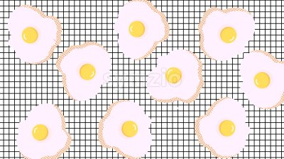 Abstract composition of fried eggs on squared background. Vector Stock Vector