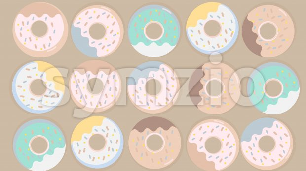 Colorful donuts set with sugar strands on beige background. Vector Stock Vector
